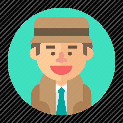 avatar, detective, investigator, male, man, professions icon