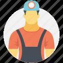 coal miner, laborer, miner, mineworker, prospector icon