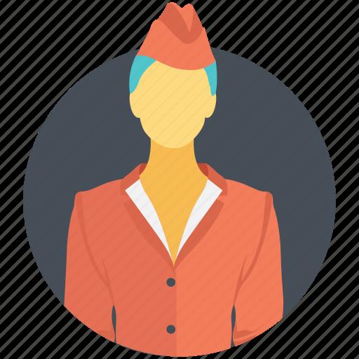 air hostess, flight attendant, hostess, stewardess, waitress icon
