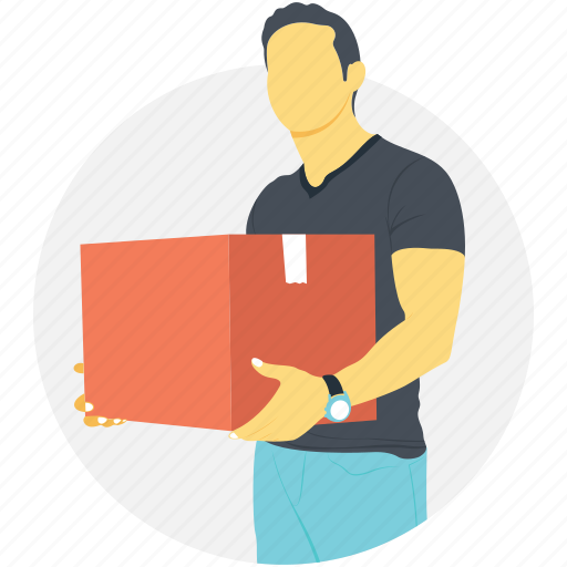 courier guy, courier man, delivery man, delivery person, shipping service icon