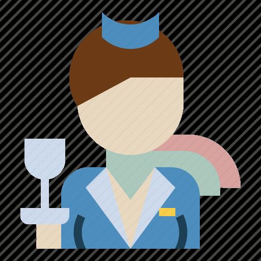 air, attendant, avatar, flight, hostess, stewardess, woman icon