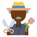 farmer, flower, garden, gardener, scissors icon