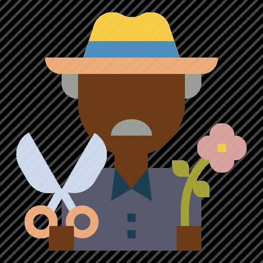 farmer, flower, garden, gardener, scissors icon