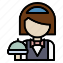 avatar, hotel, reception, waiter, woman icon