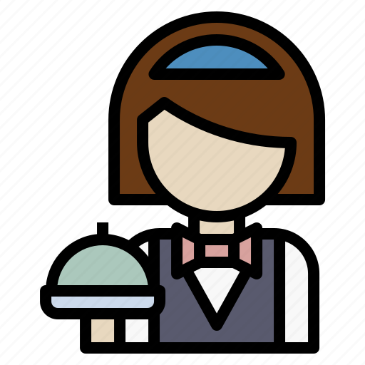 avatar, hotel, reception, waiter, woman icon