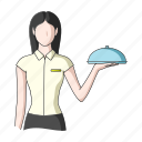 appearance, image, person, profession, waiter, woman icon