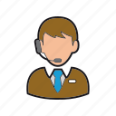 call, customer, man, operator, professions, services, support icon