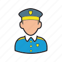 cop, guard, hat, officer, policeman icon, professions, security icon