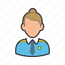 cop, guard, hat, officer, policewoman, professions, security icon