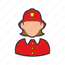 firefighter icon, fireman, helmet, professions, woman icon