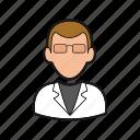 man, professions, professor, scientist icon, smock, teacher