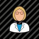 professions, professor, scientist icon, smock, teacher, woman icon