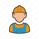 builder, construction, helmet, man, professions, worker icon icon
