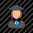 education, graduate icon, graduation cap, professions, student, woman icon