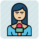 avatar, job, profession, reporter, woman icon