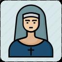 avatar, catholic, church, female, nun, profession, sister icon