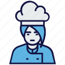 avatar, chef, cook, female, profession icon