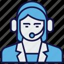 avatar, female, headphone, profession, service