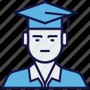 avatar, bachelor, graduation, profession, student icon