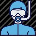 avatar, man, profession, scuba diver, underwater diver icon