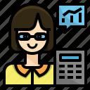 accountant, actuary, avatar, economist, finance, woman icon