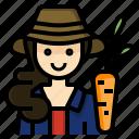 farmer, gardener, occupation, profession, woman icon
