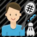 avatar, badminton, man, player, profession, sport icon