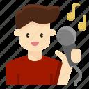 avatar, karaoke, man, rockstar, singer, vocalist icon