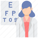 female, optometrist, professions icon