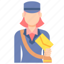 mail, postwoman, professions icon