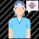animal, female, professions, veterinarian icon