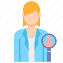 female, specialist, professions, hr icon