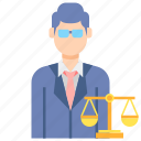 law, lawyer, male, professions icon