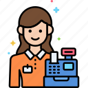 cashier, female, professions icon