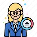 data, female, scientist icon
