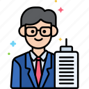 male, manager, professions icon