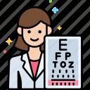 female, optometrist, professions icon