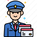 mail, postman, professions icon