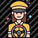 driver, female, professional