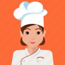 avatar, chef, cook, profile, user, woman icon