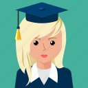 avatar, female, graduate, profile, student, user icon