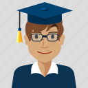 avatar, boy, graduate, man, profile, student, user icon