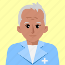 avatar, doctor, medical, old, person, profile, surgeon icon