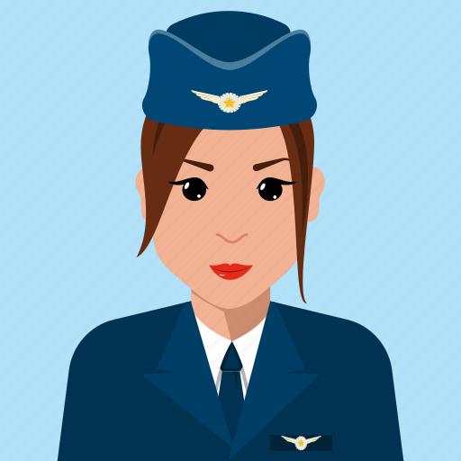 avatar, aviation, female, profile, stewardesses, user icon