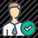 people, profile, user, account, tick, check, mark