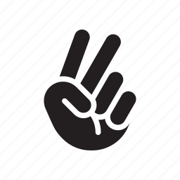 hand, index finger, middle finger, peace, victory icon