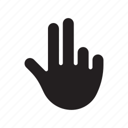 hand, index finger, middle finger, pistol, three, thumb icon