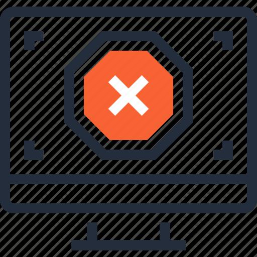 alert, cancel, computer, delete, error, failure, message icon