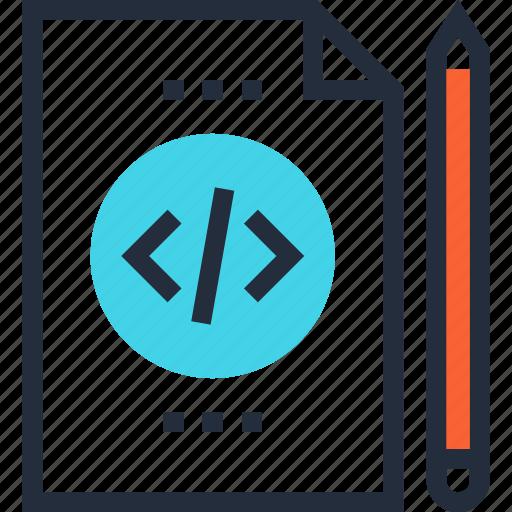 code, coding, file, program, programming, scenario, script icon