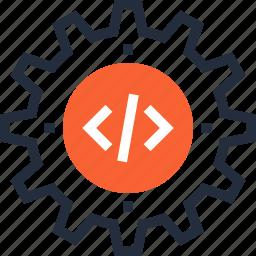 code, coding, cogwheel, optimization, options, program, settings icon
